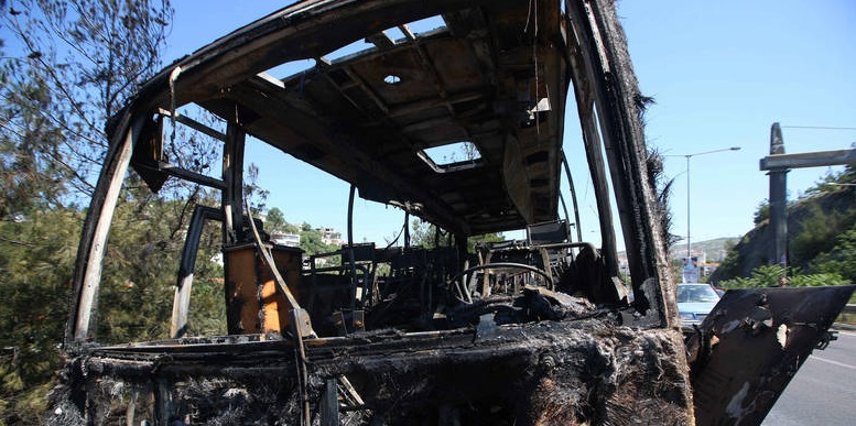 Κάηκε ολοσχερώς λεωφορείο του ΚΤΕΛ