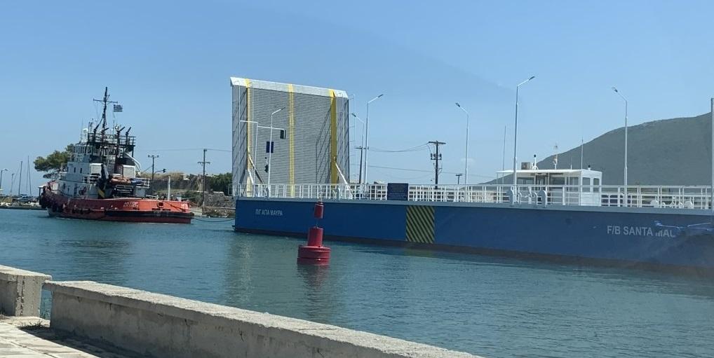 Επέστρεψε στην Λευκάδα η πλωτή γέφυρα