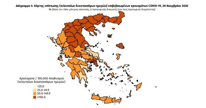 Ο χάρτης της πανδημίας πανελλαδικά